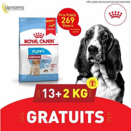 Promo Royal canin CHIEN Medium Puppy 13 Kg + 2 Kg Gratuit